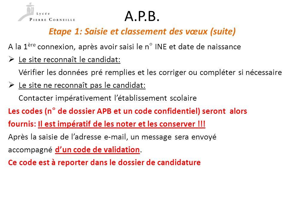 A.P.B. Etape 1: Saisie et classement des vœux (suite)