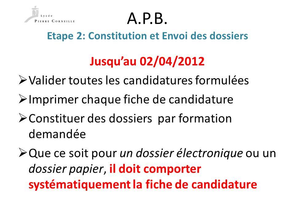 A.P.B. Etape 2: Constitution et Envoi des dossiers