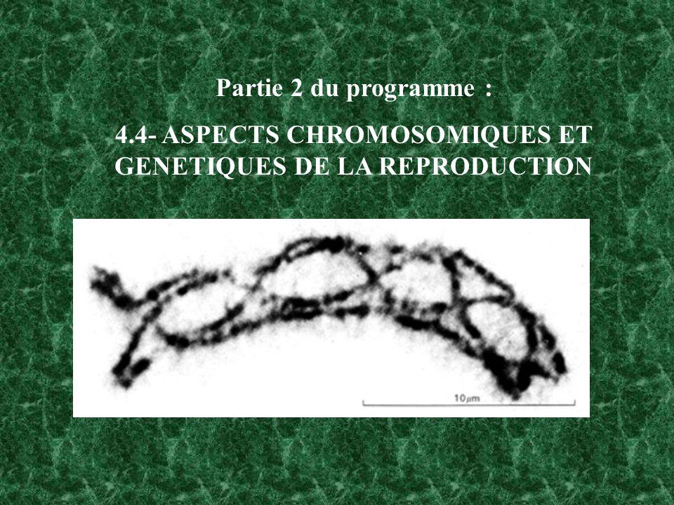 4.4- ASPECTS CHROMOSOMIQUES ET GENETIQUES DE LA REPRODUCTION