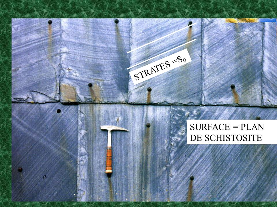 STRATES =S0 SURFACE = PLAN DE SCHISTOSITE