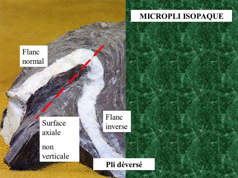 MICROPLI ISOPAQUE Flanc normal Flanc inverse Surface axiale non verticale Pli déversé