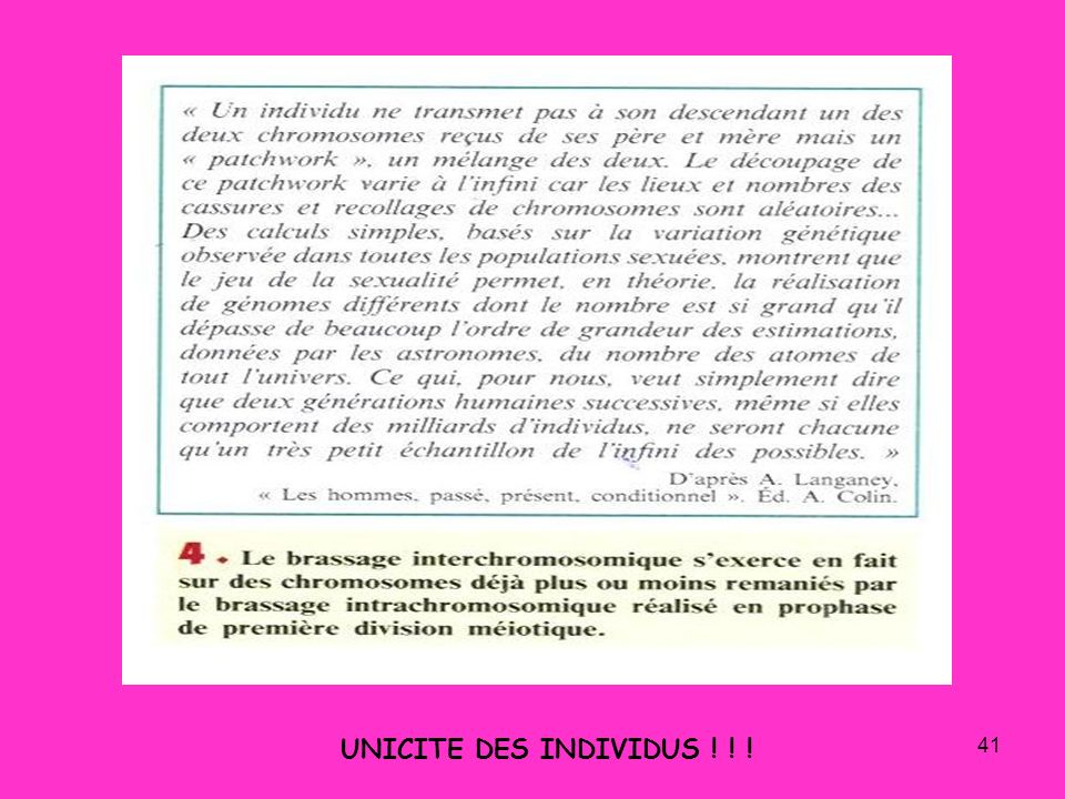 UNICITE DES INDIVIDUS ! ! !