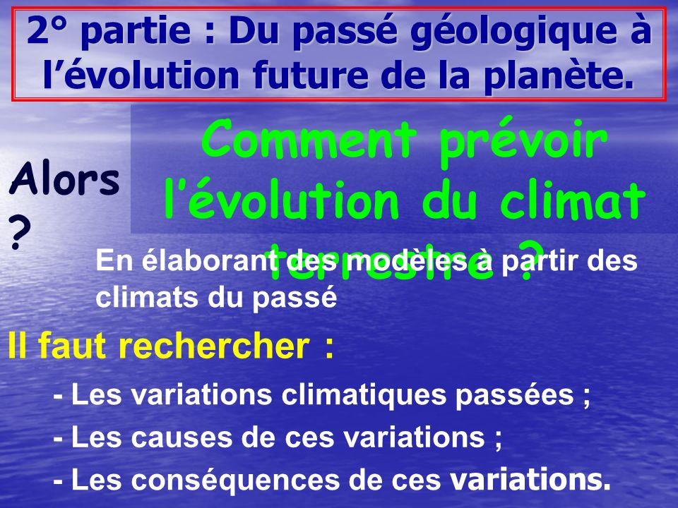 2° partie : Du passé géologique à l'évolution future de la planète.