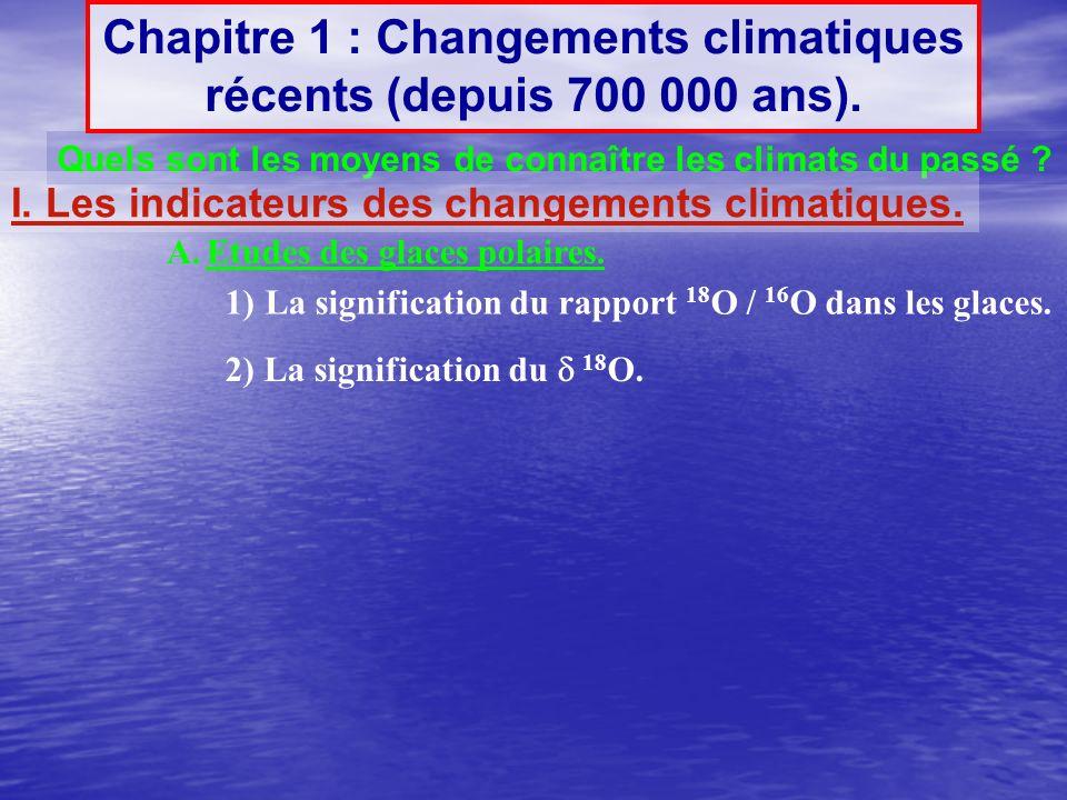 Chapitre 1 : Changements climatiques récents (depuis 700 000 ans).