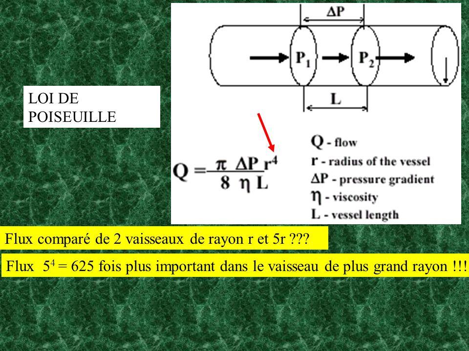 LOI DE POISEUILLE Flux comparé de 2 vaisseaux de rayon r et 5r .