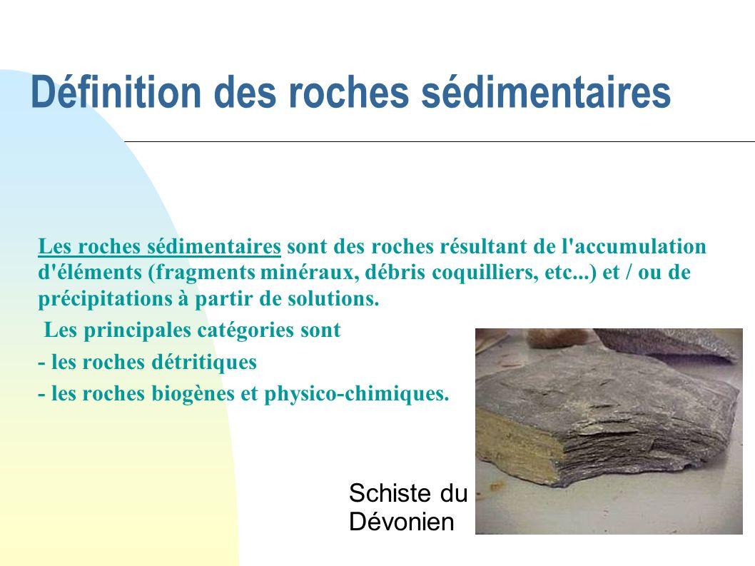 Définition des roches sédimentaires
