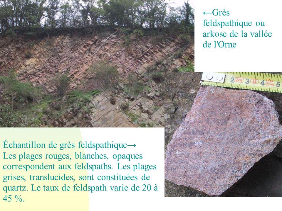 ←Grès feldspathique ou arkose de la vallée de l Orne
