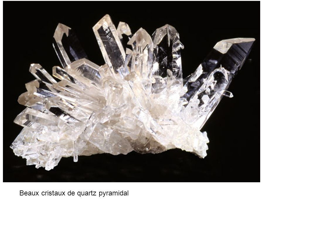 Beaux cristaux de quartz pyramidal