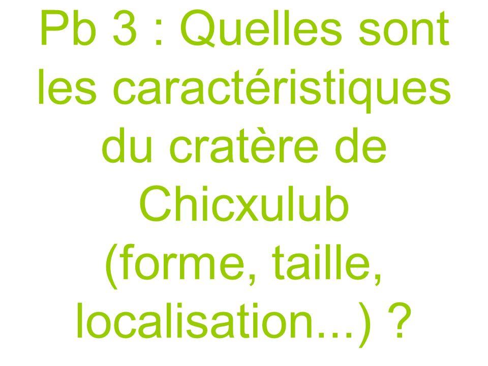 Pb 3 : Quelles sont les caractéristiques du cratère de Chicxulub (forme, taille, localisation...) .