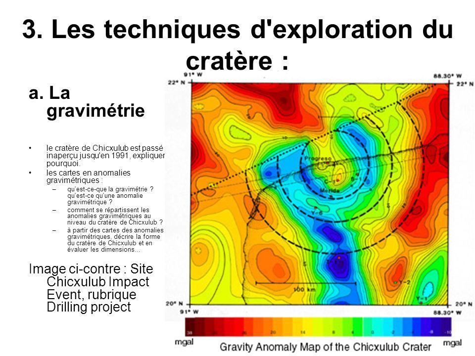 3. Les techniques d exploration du cratère :