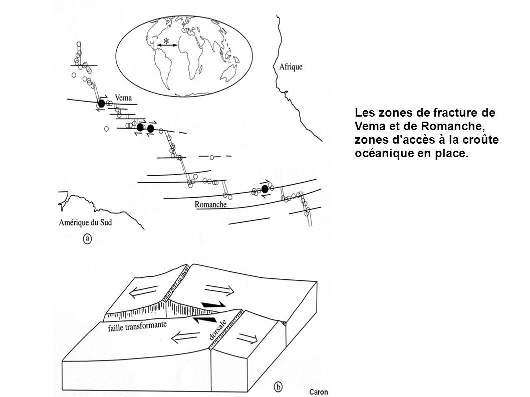 Les zones de fracture de Vema et de Romanche, zones d accès à la croûte océanique en place.