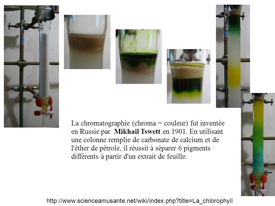 La chromatographie (chroma = couleur) fut inventée en Russie par Mikhail Tswett en 1901. En utilisant une colonne remplie de carbonate de calcium et de l éther de pétrole, il réussit à séparer 6 pigments différents à partir d un extrait de feuille.