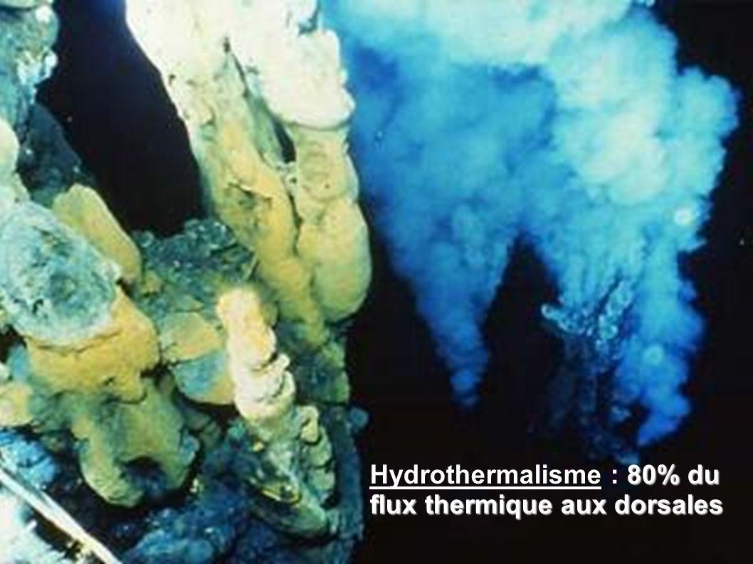 Hydrothermalisme : 80% du flux thermique aux dorsales