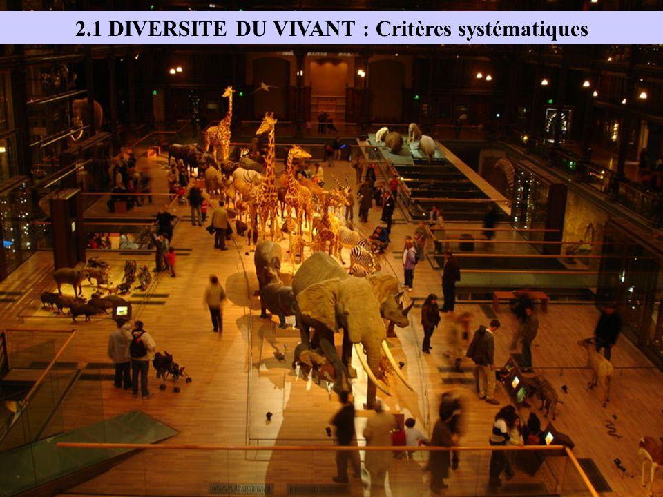 2.1 DIVERSITE DU VIVANT : Critères systématiques