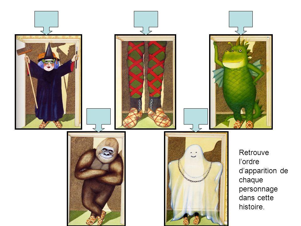 Retrouve l'ordre d'apparition de chaque personnage dans cette histoire.