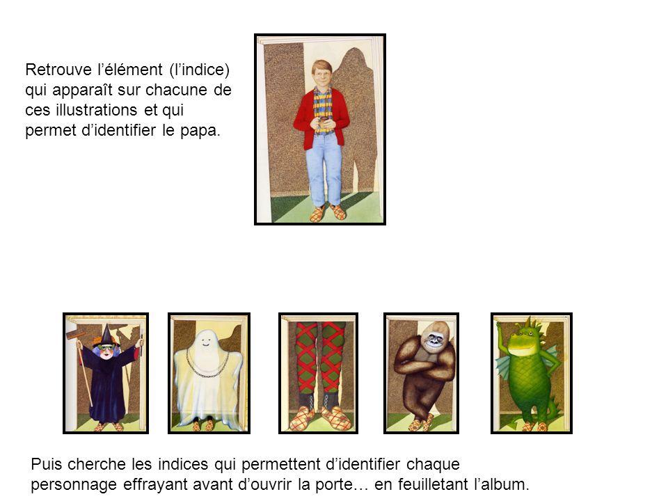 Retrouve l'élément (l'indice) qui apparaît sur chacune de ces illustrations et qui permet d'identifier le papa.