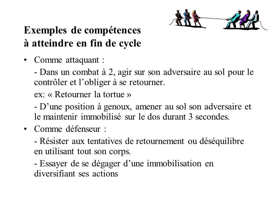 Exemples de compétences à atteindre en fin de cycle