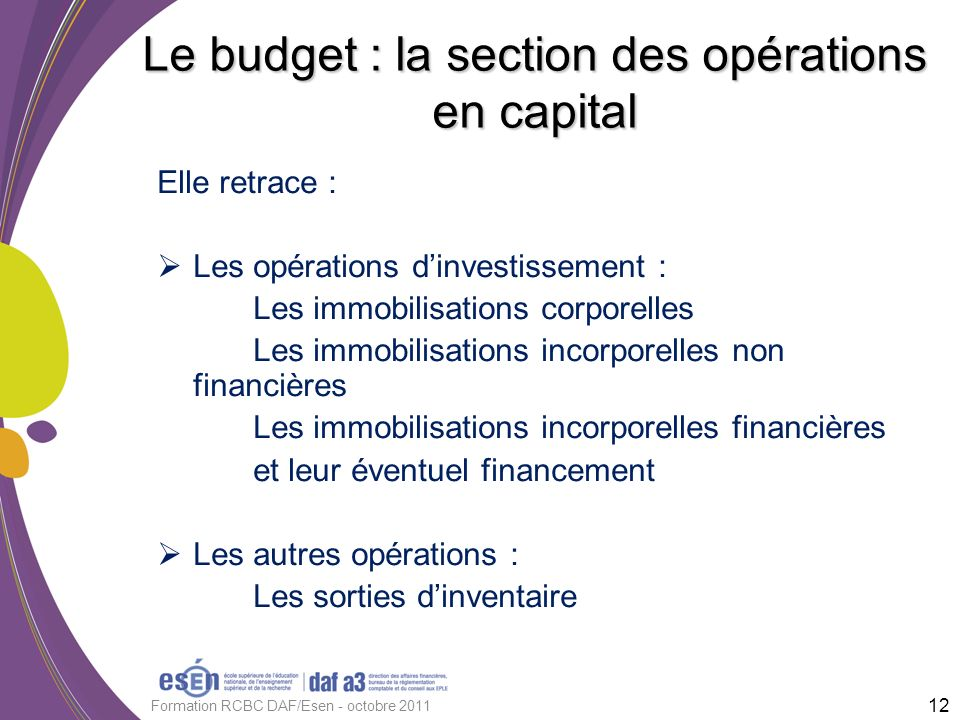 Le budget : la section des opérations en capital