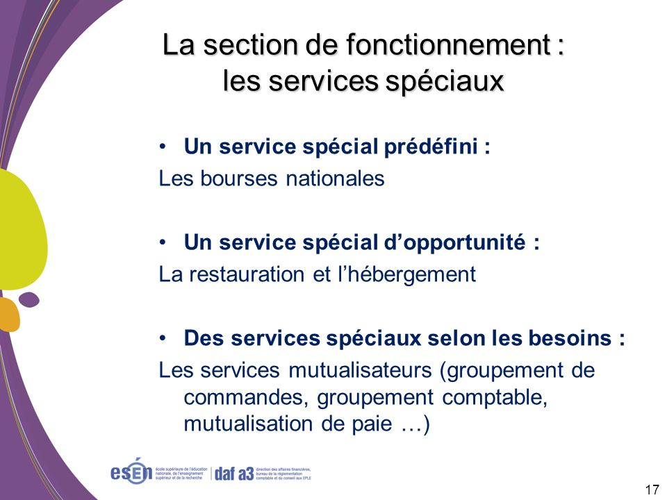 La section de fonctionnement : les services spéciaux