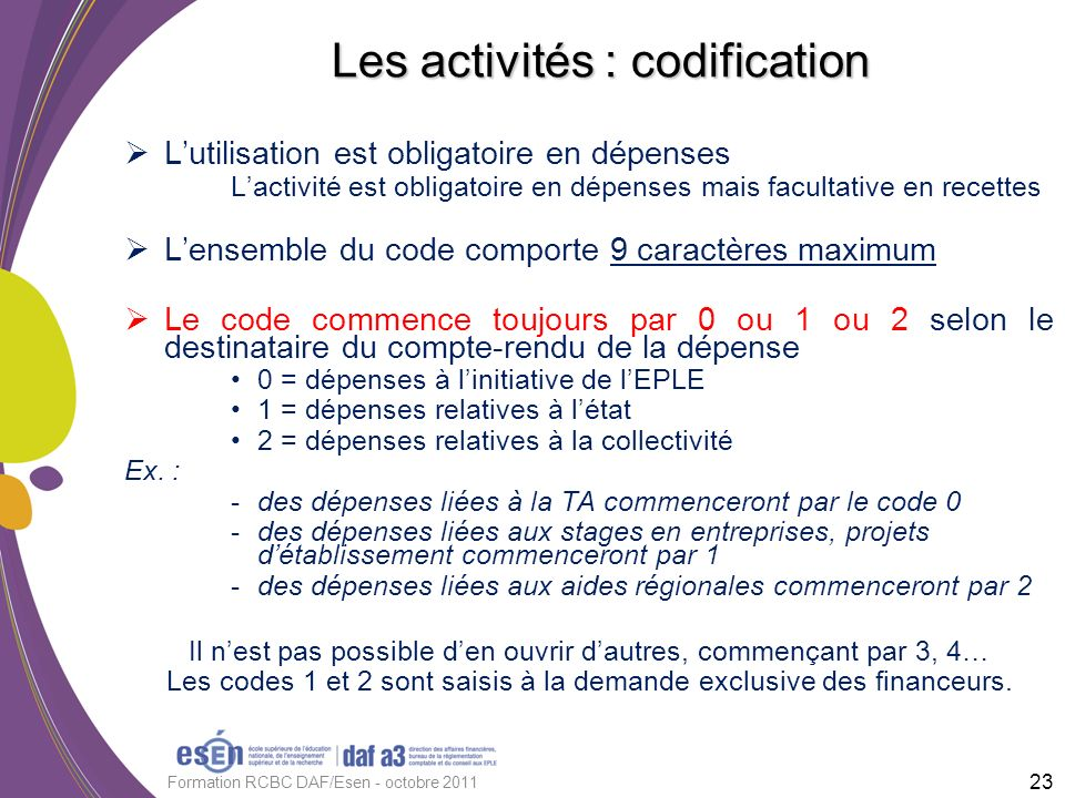Les activités : codification