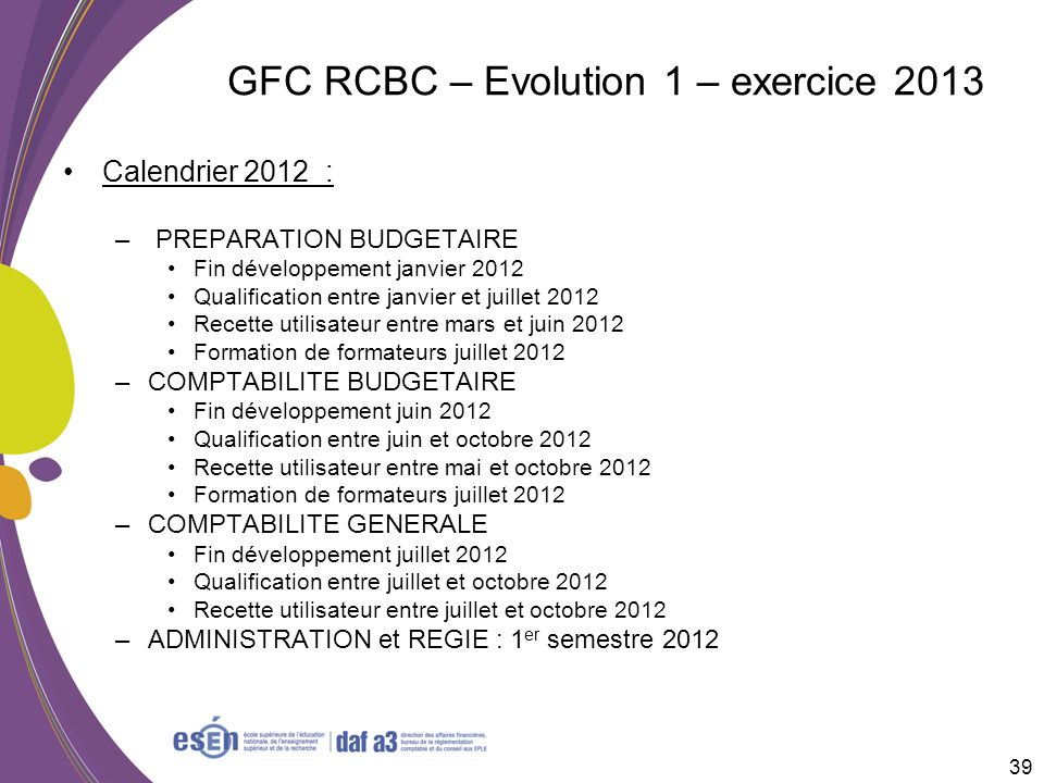 GFC RCBC – Evolution 1 – exercice 2013