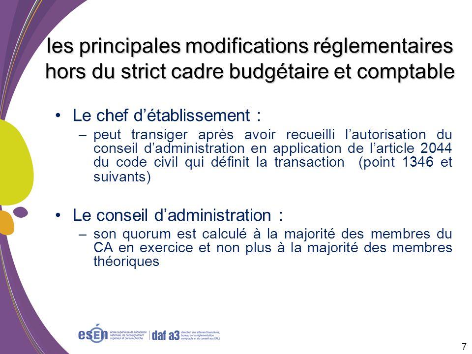les principales modifications réglementaires hors du strict cadre budgétaire et comptable