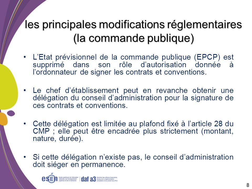 les principales modifications réglementaires (la commande publique)