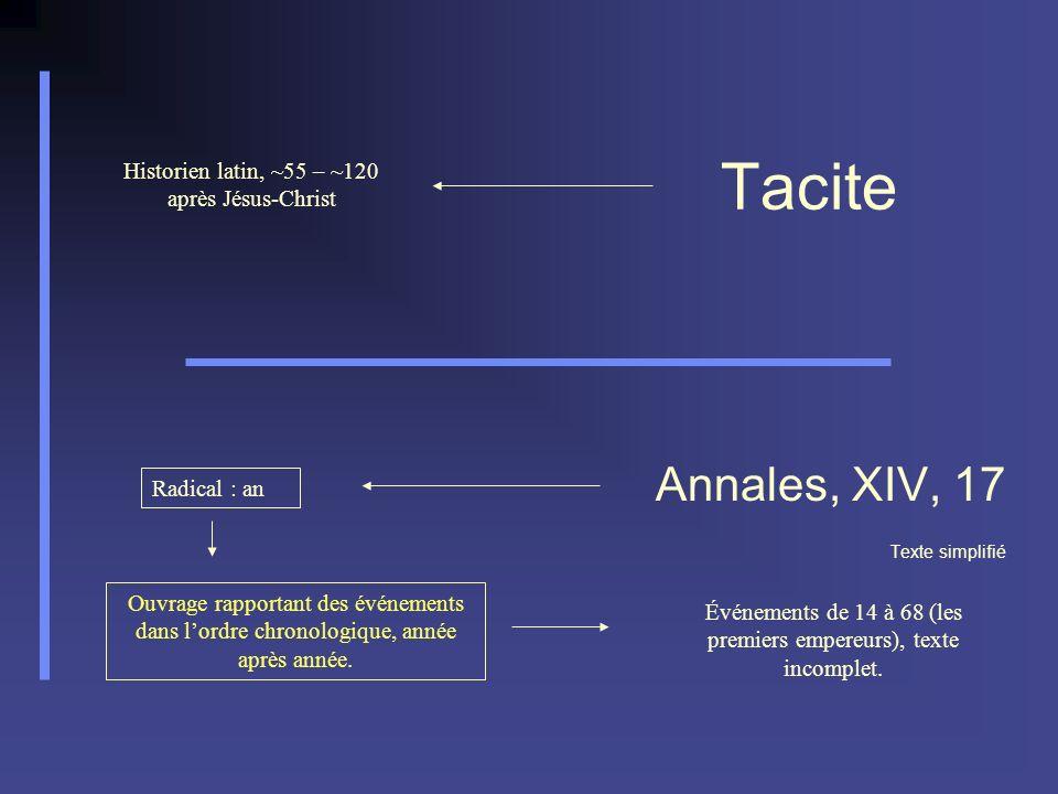 Annales, XIV, 17 Texte simplifié