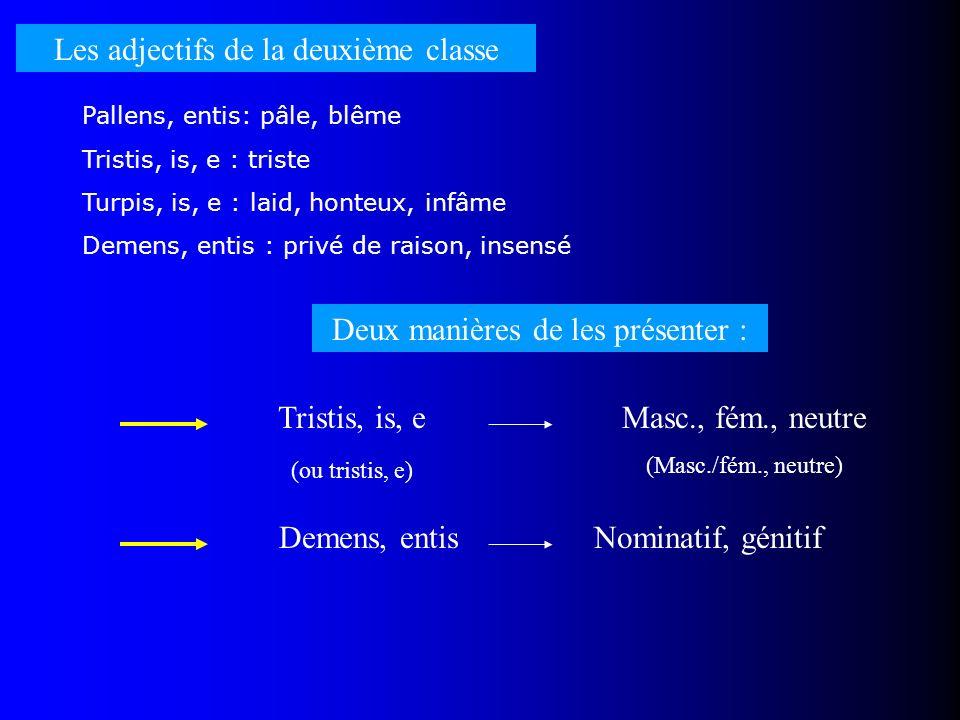 Les adjectifs de la deuxième classe