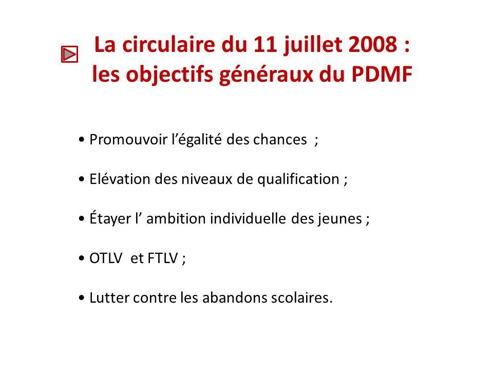 La circulaire du 11 juillet 2008 : les objectifs généraux du PDMF
