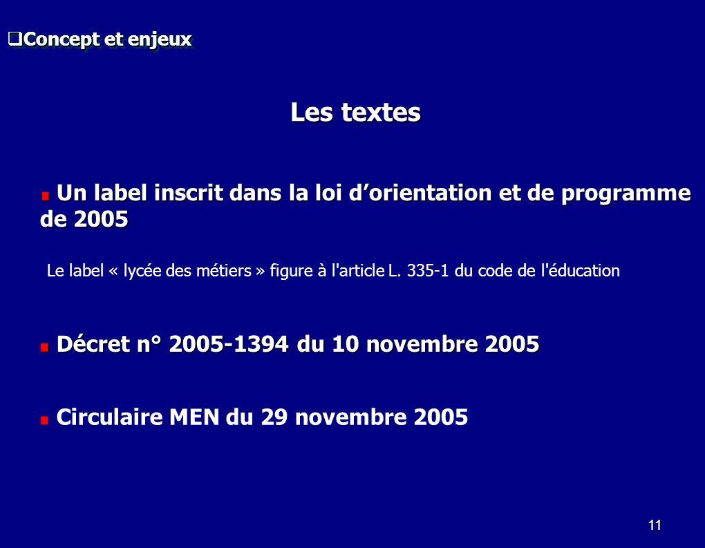 Concept et enjeux Les textes. Un label inscrit dans la loi d'orientation et de programme de 2005.
