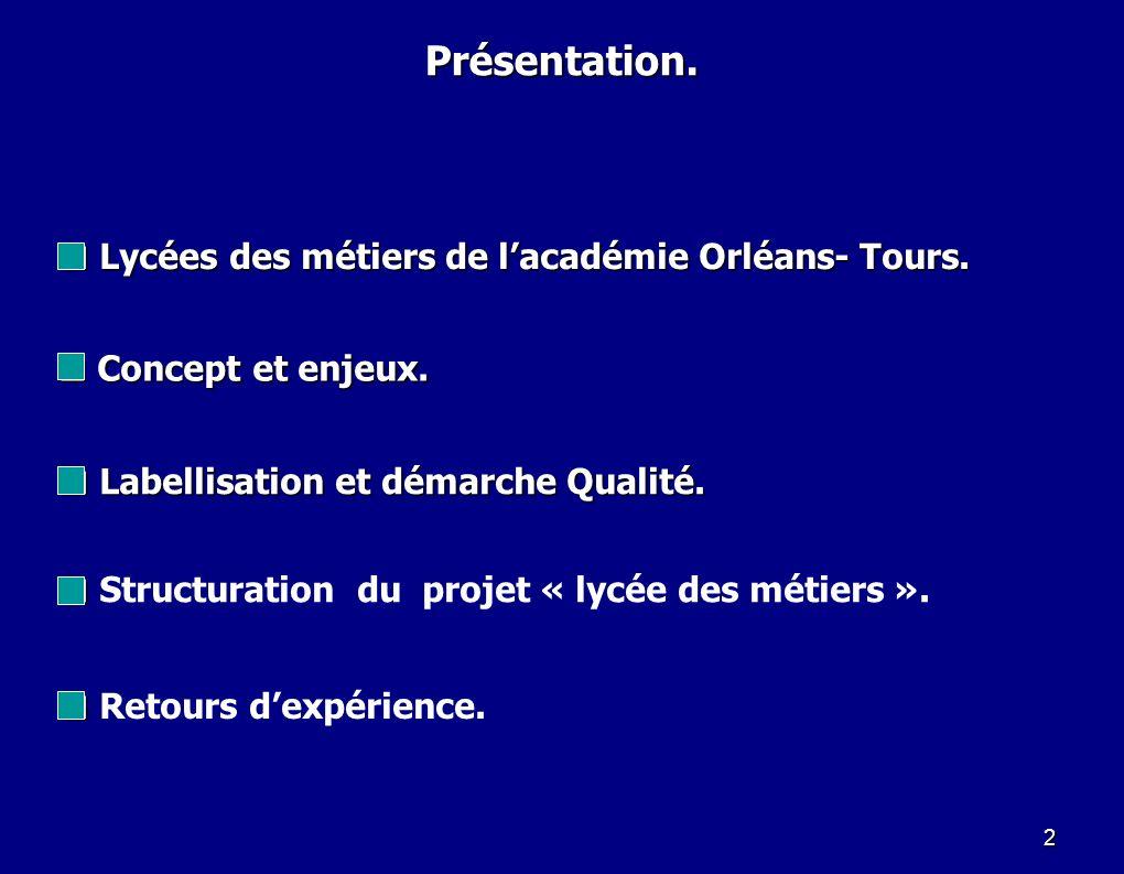 Présentation. Lycées des métiers de l'académie Orléans- Tours.