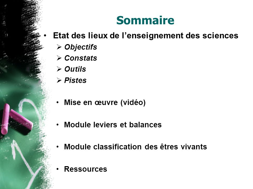 Sommaire Etat des lieux de l'enseignement des sciences Objectifs
