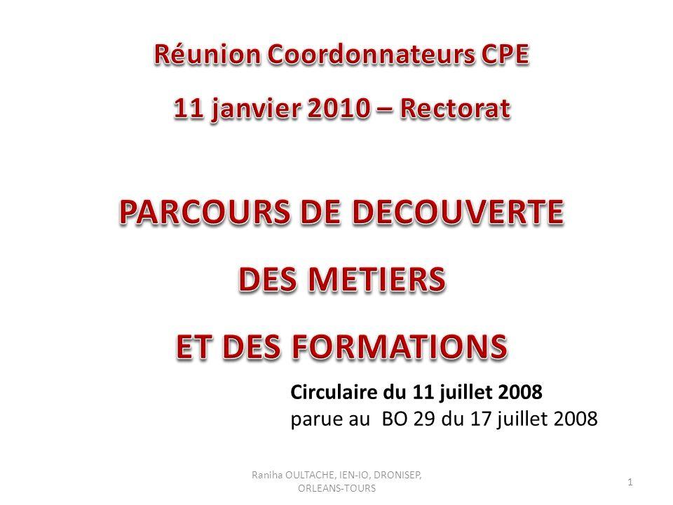 Réunion Coordonnateurs CPE PARCOURS DE DECOUVERTE