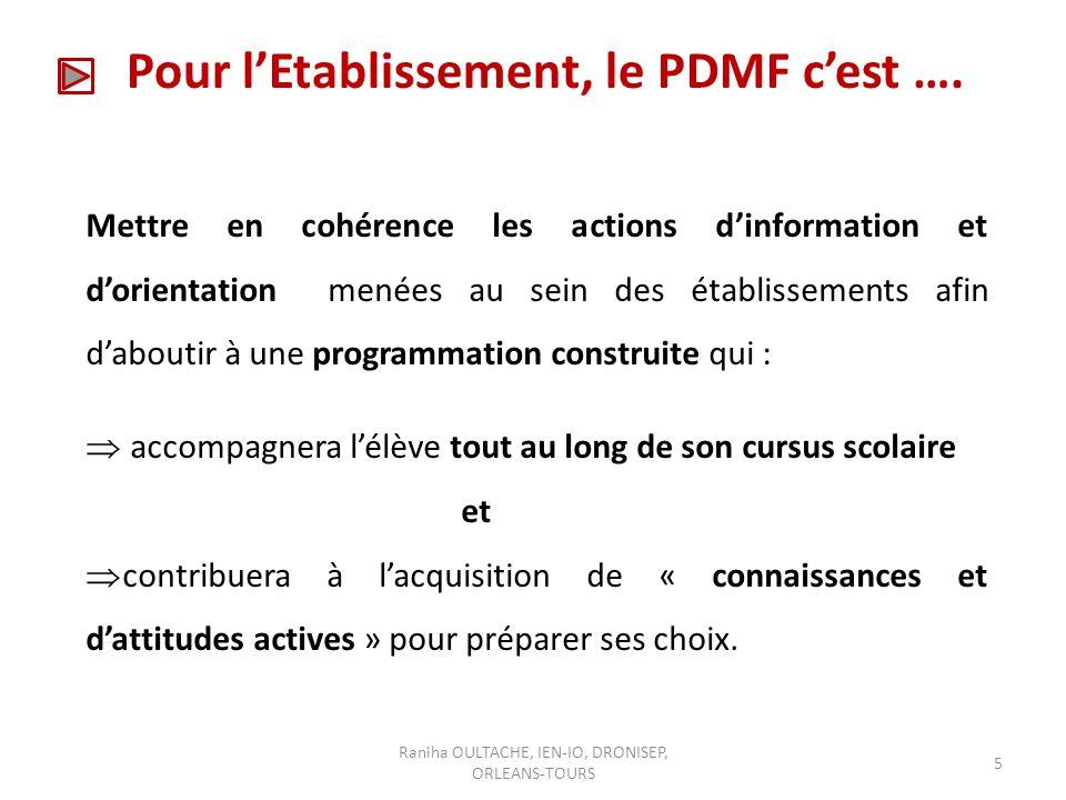 Pour l'Etablissement, le PDMF c'est ….