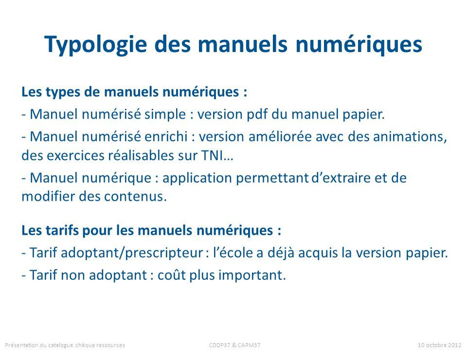Typologie des manuels numériques