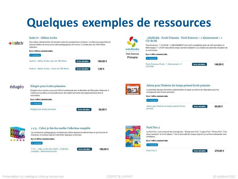 Quelques exemples de ressources