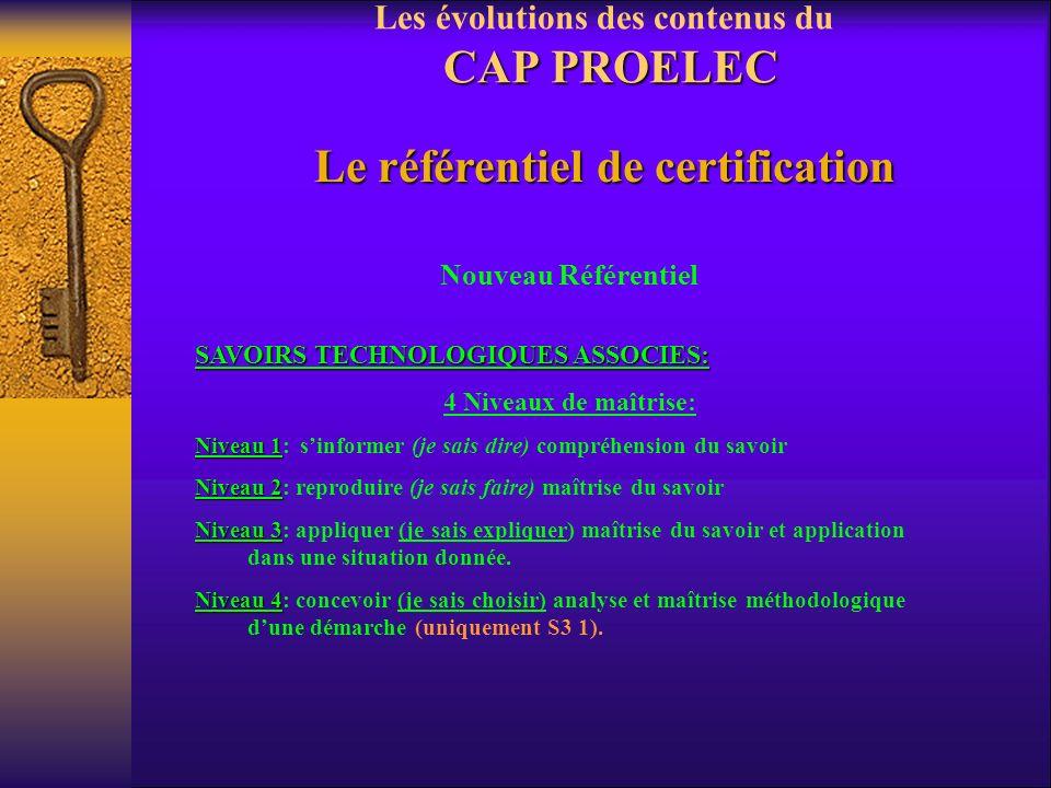 Les évolutions des contenus du CAP PROELEC