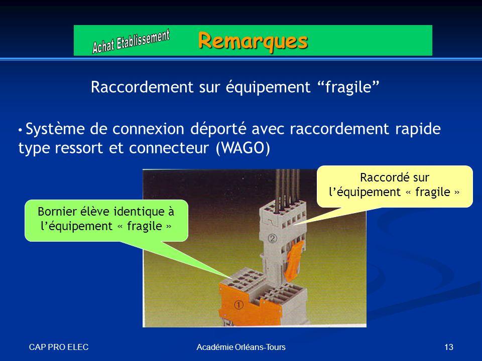 Remarques Raccordement sur équipement fragile