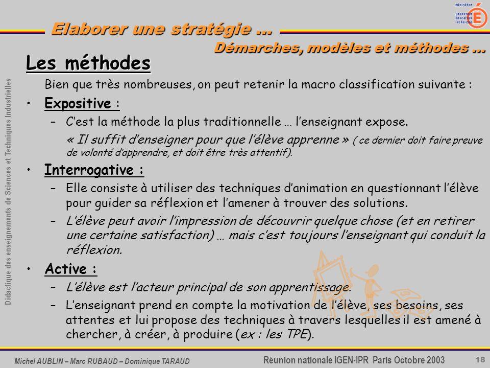 Les méthodes Démarches, modèles et méthodes … Expositive :