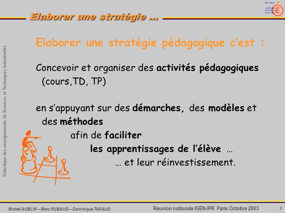 Elaborer une stratégie pédagogique c'est :