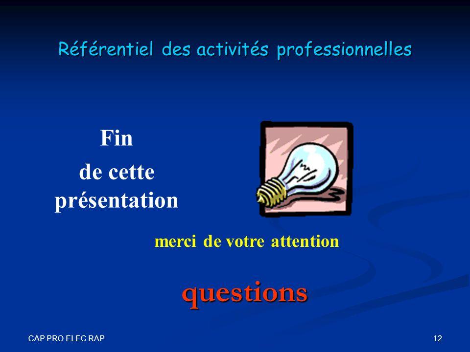 Référentiel des activités professionnelles