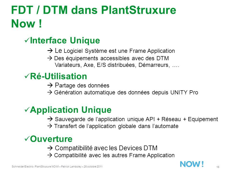 FDT / DTM dans PlantStruxure Now !