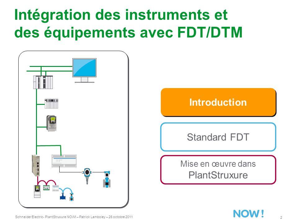 Intégration des instruments et des équipements avec FDT/DTM