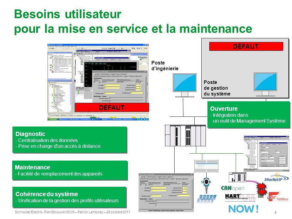 Besoins utilisateur pour la mise en service et la maintenance
