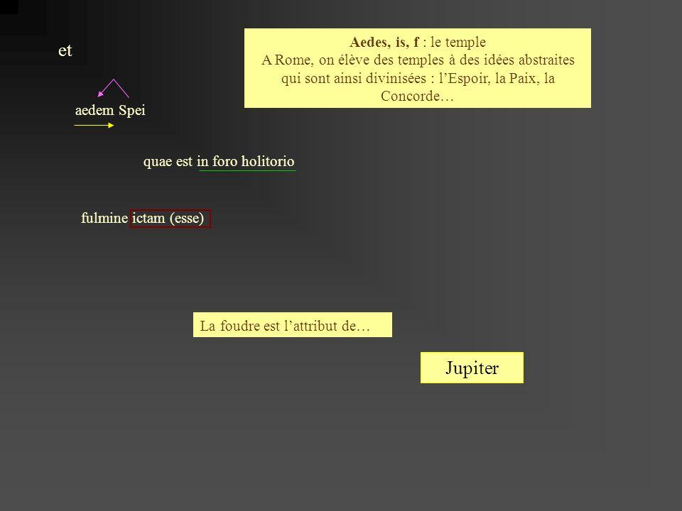 Aedes, is, f : le temple A Rome, on élève des temples à des idées abstraites qui sont ainsi divinisées : l'Espoir, la Paix, la Concorde…