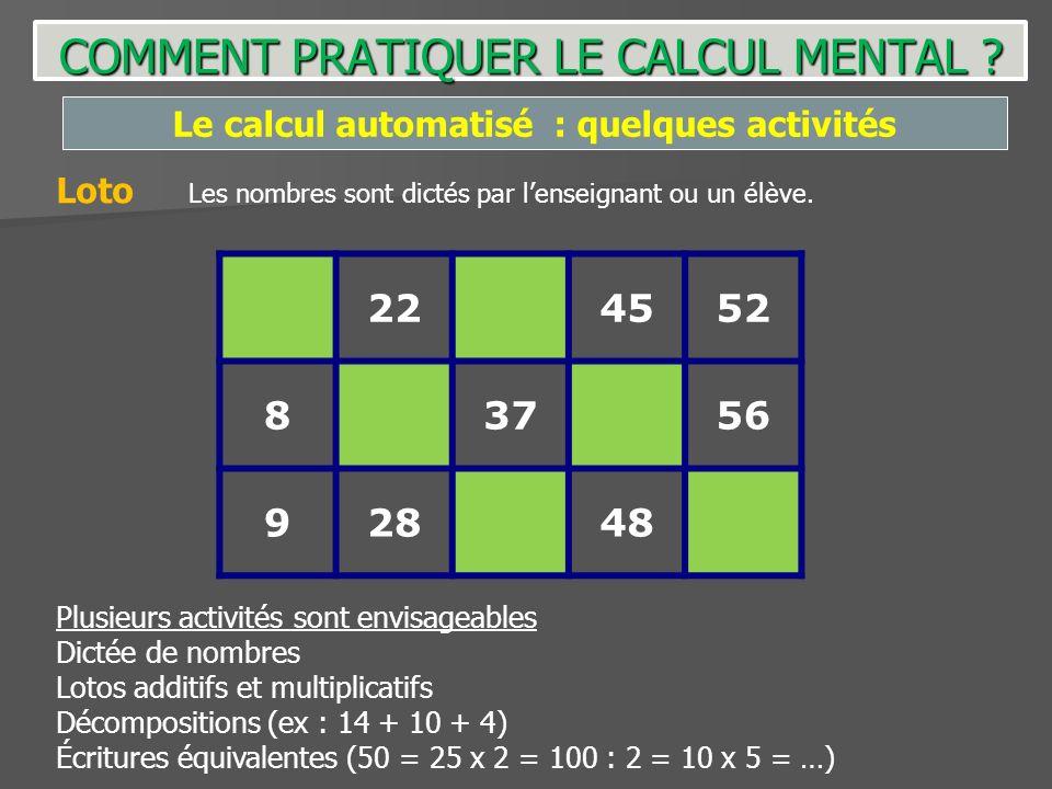 Le calcul automatisé : quelques activités