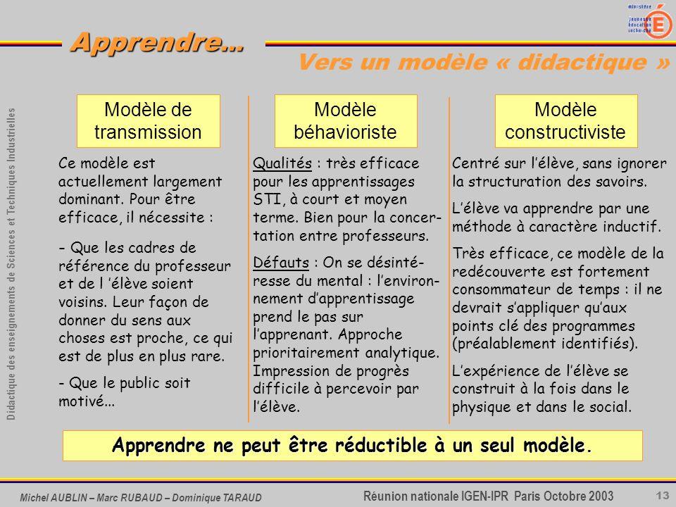Vers un modèle « didactique »