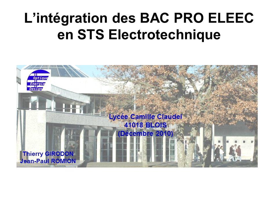 L'intégration des BAC PRO ELEEC en STS Electrotechnique