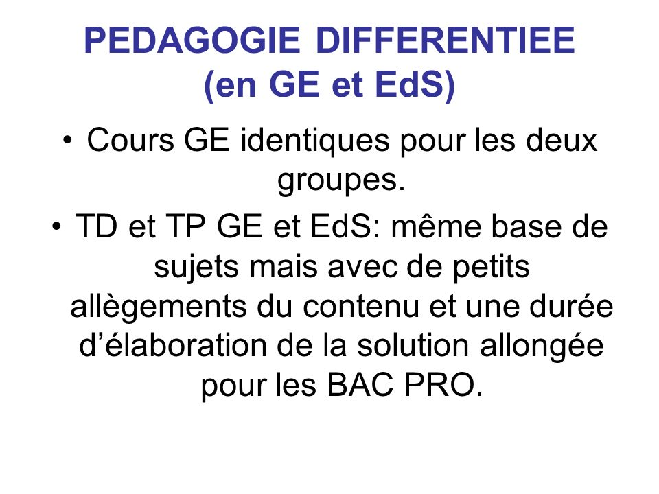 PEDAGOGIE DIFFERENTIEE (en GE et EdS)